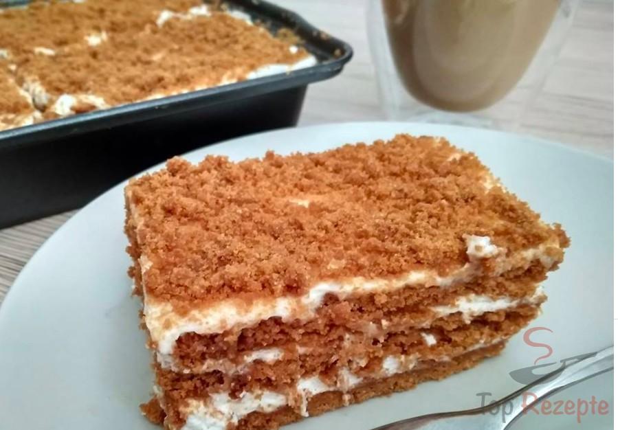 Sahne Karamellkeks Kuchen Ohne Backen In 15 Minuten Zubereitet