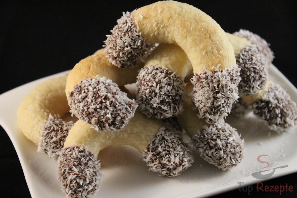 Weihnachtsplätzchen Mit Schokolade.Schoko Kokoskipferl