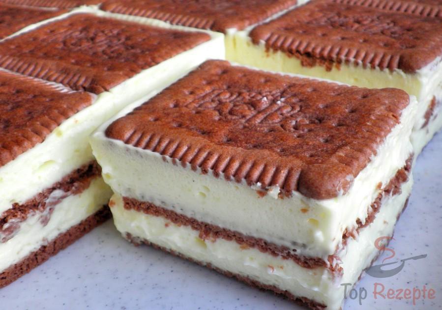 Butterkeks-Vanillecreme-Schnitten ohne Backen | Top-Rezepte.de