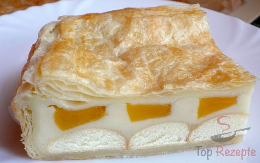 Blatterteig Pudding Pfirsich Schnitten