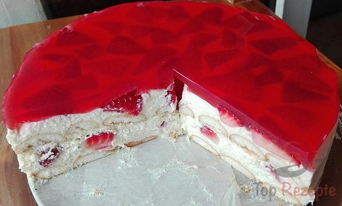 Quark Pudding Torte Mit Erdbeeren Und Tortenguss Ohne Backen Top